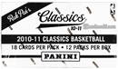 2010/11 Panini Classics Basketball Retail Rack Pack Box