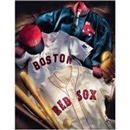 Artissimo Boston Red Sox Vintage Collage 24x36 Canvas