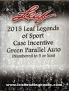 2015 Leaf Legends of Sport case Incentive Green Parallel Auto Pack