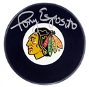 Tony Esposito Autographed Chicago Blackhawks Hockey Puck