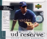2001 Upper Deck Reserve Baseball Hobby Box