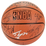 2002 L.A. Lakers Team Signed Spalding Basketball (Kobe Bryant & Shaquille O'Neal) PSA