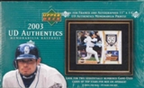 2003 Upper Deck Authentics Memorabilia Baseball 10 Pack Hobby Box (w/o Topper)