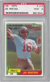 1981 Topps Football #216 Joe Montana PSA 9 (MINT) RC *8944