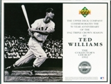 1992 Upper Deck Ted Williams Baseball Triple Crown Commemorative Sheet