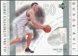 2001/02 Upper Deck Honor Roll All-NBA Authentic Jerseys #14 Mike Miller