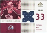 2002/03 Upper Deck SP Game Used Authentic Fabrics Gold #AFPR Patrick Roy /99