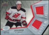 2008/09 Upper Deck Ice Frozen Fabrics Black Parallel #FFZP Zach Parise /25