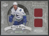 2008/09 Artifacts #TSDHS Henrik Sedin Treasured Swatches Dual Silver Jersey #004/100