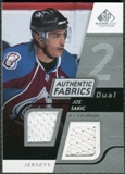 2008/09 Upper Deck SP Game Used Dual Authentic Fabrics #AFSK Joe Sakic