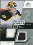 2008/09 Upper Deck SP Game Used Dual Authentic Fabrics #AFTH Tim Thomas