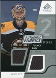 2008/09 Upper Deck SP Game Used Dual Authentic Fabrics #AFTR Tuukka Rask
