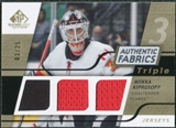 2008/09 Upper Deck SP Game Used Triple Authentic Fabrics Gold #3AFMK Miikka Kiprusoff /25