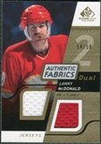 2008/09 Upper Deck SP Game Used Dual Authentic Fabrics Gold #AFLM Lanny McDonald /50