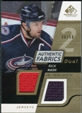 2008/09 Upper Deck SP Game Used Dual Authentic Fabrics Gold #AFRN Rick Nash /50