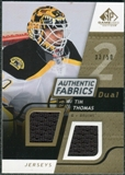 2008/09 Upper Deck SP Game Used Dual Authentic Fabrics Gold #AFTH Tim Thomas /50