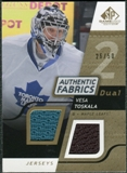 2008/09 Upper Deck SP Game Used Dual Authentic Fabrics Gold #AFVT Vesa Toskala /50