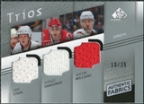 2008/09 Upper Deck SP Game Used Authentic Fabrics Trios #WSS Eric Staal Sergei Samsonov Justin Williams /25