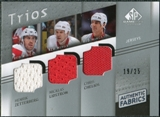 2008/09 Upper Deck SP Game Used Authentic Fabrics Trios #ZLC Zetterberg Lidstrom Chelios /25