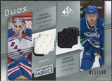 2008/09 Upper Deck SP Game Used Authentic Fabrics Duos #LN Henrik Lundqvist Markus Naslund /100