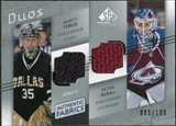 2008/09 Upper Deck SP Game Used Authentic Fabrics Duos #TB Marty Turco Peter Budaj /100