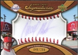 2007 Upper Deck Sweet Spot Signatures Red Stitch Blue Ink #EA Erick Aybar Autograph /299