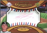 2007 Upper Deck Sweet Spot Signatures Red-Blue Stitch Red Ink #RS Ryan Sweeney /15
