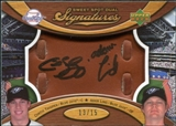2007 Upper Deck Sweet Spot Dual Signatures Glove Leather Black Ink #TL Curtis Thigpen Adam Lind /15