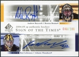 2004/05 Upper Deck SP Authentic Sign of the Times #DSRL Andrew Raycroft Kari Lehtonen Autograph /100