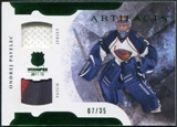 2011/12 Upper Deck Artifacts Horizontal Jerseys Patches Emerald #86 Ondrej Pavelec 7/35