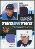 2009/10 Upper Deck MVP Two on Two Jerseys JSKLS Bryan Little Ilya Kovalchuk Martin St. Louis Steven Stamkos