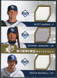 2009 Upper Deck SPx Winning Materials Triple #KIB Scott Kazmir/Akinori Iwamura/Rocco Baldelli