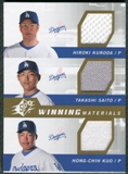 2009 Upper Deck SPx Winning Materials Triple #KSK Hiroki Kuroda/Takashi Saito/Hong-Chih Kuo