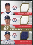2009 Upper Deck SPx Winning Materials Triple #MBK Kevin Millwood Hank Blalock Ian Kinsler