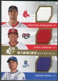 2009 Upper Deck SPx Winning Materials Triple #PCS Jonathan Papelbon/Chad Cordero/Joakim Soria