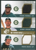 2009 Upper Deck SPx Winning Materials Triple #TCB Frank Thomas Bobby Crosby Travis Buck