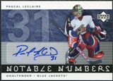 2005/06 Upper Deck Notable Numbers #NPLE Pascal Leclaire Autograph /31
