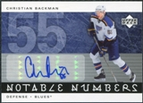 2005/06 Upper Deck Notable Numbers #NCB Christian Backman Autograph /55