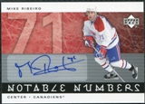 2005/06 Upper Deck Notable Numbers #NMR Mike Ribeiro Autograph /71