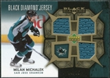2007/08 Upper Deck Black Diamond Jerseys Gold Triple #BDJMM Milan Michalek 4/25