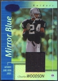 2002 Leaf Certified #65 Charles Woodson Mirror Blue Materials Jersey #01/50