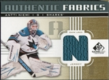2011/12 Upper Deck SP Game Used Authentic Fabrics Gold #AFAN3 Antti Niemi N C