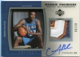 2005/06 Upper Deck Trilogy Rookie Premiere Patches Autographs #AB Andray Blatche 6/10