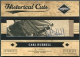 2011 Panini Limited Historical Cuts #25 Carl Hubbell 3/4 Cut Autograph