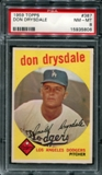 1959 Topps Baseball #387 Don Drysdale PSA 8 (NM-MT) *5806