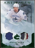 2010/11 Upper Deck Artifacts Jerseys Patches Emerald #89 Daniel Sedin /50