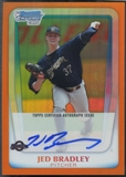 2011 Bowman Chrome Draft Prospect #JB Jed Bradley Orange Refractor Auto #10/25