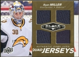 2010/11 Upper Deck Black Diamond Jerseys Quad Gold #QJRM Ryan Miller 1/25