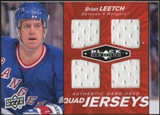 2010/11 Upper Deck Black Diamond Jerseys Quad Ruby #QJBL Brian Leetch /50