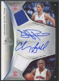 2006/07 SP Game Used #BP Chauncey Billups & Tayshaun Prince Authentic Fabrics Dual Jersey Auto #30/50